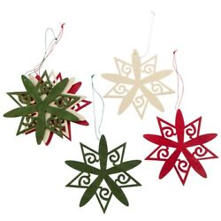 Red Green And Ivory Scroll Snowflake Ornaments