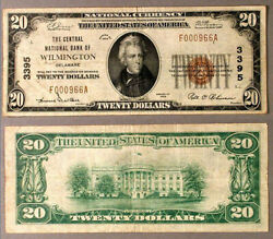 Wilmington De 20 1929 T-1 National Bank Note Ch 3395 Central Nb Vf