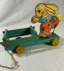 Vintage Fisher Price 466 Busy Easter Bunny Wood Pull Toy Wagon Easter 1941