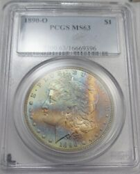 1890-o Silver Morgan Dollar End-of-roll Toning Pcgs Ms63 Coin Sam91
