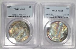 Pair 1887-p Silver Morgan Dollars Book Ends Toning End Of Roll Pcgs Sam92