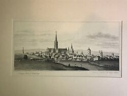 Antique Etching 1834 Ancient View Of Salisbury - Etched By J. Fisher