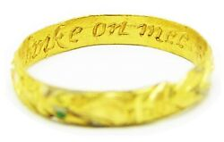 Rare 17th Century Stuart Gold Enamel Posy Ring I Give It Thee To Thinke On Mee