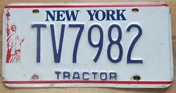 New York 1990's Tractor License Plate High Quality Tv7982