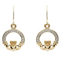 Shanore 10K Yellow Gold Irish Claddagh Pave Set Dangle Drop Earrings 10e632