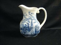 Staffordshire England Liberty Blue 32 Ounce Old North Church Pitcher