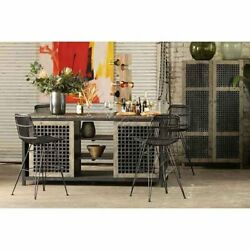 Black Washed Rattan Counter or Bar Stool Heavy Metal Frame