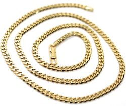 Massive 18k Gold Gourmette Cuban Curb Chain 3.5 Mm 18 In. Necklace Made In Italy