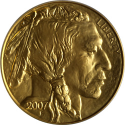 2007 Buffalo Gold $50 .9999 Fine ICG MS70 First Day Issue #422 of 798