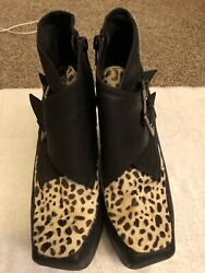 Jeffrey Campbell Shoes Size 7 Black Animal Print Leather And Leopard Booties