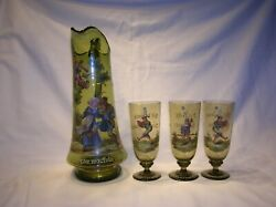 19TH C. GERMAN ENAMELED BEER PITCHER WITH THREE MATCHING GLASSES - VERY NICE SET