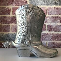 Aluminum Cowboy Boot Champagne Holder Large Container Vase Spinning Spur India