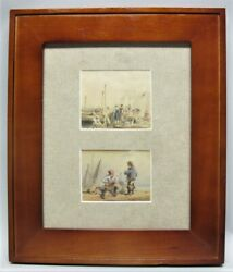 Fine Pair Of Antique Miniature Paintings Of Ships Thomas Shotter Boys C. 1850