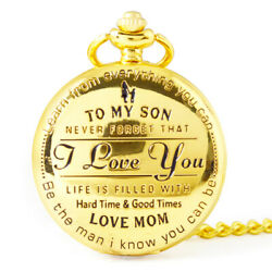 To My Son I Love You Retro Series Pocket Watch Quartz Watches Pendent H7D0