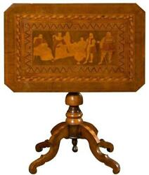 Antique Italian 19th Century Center Table With Marquetry Picture Of Columbus