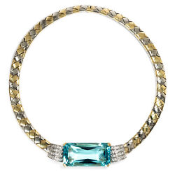 Vintage Aquamarine & Diamond Necklace in 750 Gold 1980's Years Collar Necklace