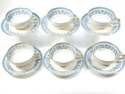 Six Charles Ahrenfeldt Limoges Porcelain Cups And Saucers Blue Swirl Topiary