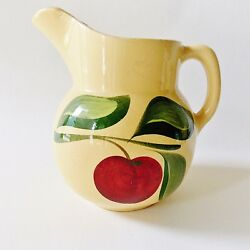 Apple By Watt Yellow Ware Pottery Pitcher 36 Oz Number 16 Red Apple W Green
