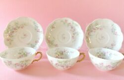 Beautiful Haviland Limoges Cups And Saucers Three Pink And Blue Flowers White
