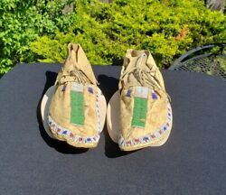 19th Century Beaded Sioux Indian Moccasins From A Major Collection