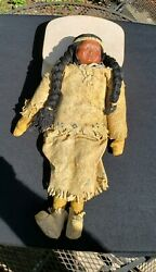 Native American Indian Doll Buckskin Dress From A Major Collection