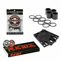Bones Reds Skateboard Bearings With Independent Risers And Mounting Hardware