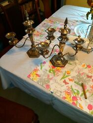 Antique Style Quality Pair Of Silver Plated Candelabra