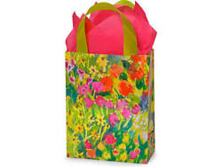 Watercolor Garden Plastic Cub Size Gift Bag Choose Tissue And Pack Amount