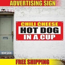 Chili Cheese Hot Dog In A Cup Advertising Banner Vinyl Mesh Decal Sign Food Fair