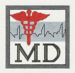 Medical Doctor Md Profession Handpainted 5 Sq. Needlepoint Ornament Mel.