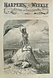 The Signal - A Buffalo Herd In Sight, W.m. Cary, Western, 1873 Antique Art Print