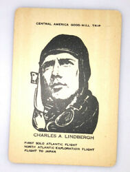 Charles Lindbergh 1930s Famous Fliers And Their Flights Milton Bradley Cardtc-97