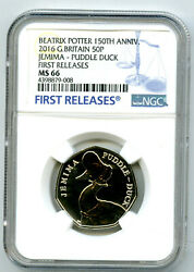 2016 Great Britain 50p Ngc Ms66 Dpl Jemima Puddle Duck First Releases Potter