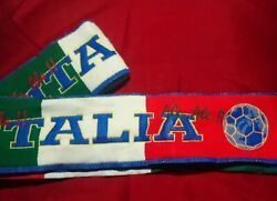 Vintage Italia Italy National Footbll Team Slim Scarf Ale Ale Red White Green