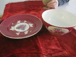 Antique Imperial Russian Porcelain Red Floral Bowl And Plate Set Marked Gardner