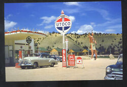 Utoco Gas Station Service Station Advertising Postcard Copy Old Cars