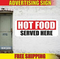 Hot Food Served Here Advertising Banner Vinyl Mesh Decal Sign Catering Bar Cafe