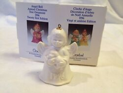 1996 GOEBEL ANGEL BELL CHRISTMAS ORNAMENT - WHITE - WITH PUPPY - 21ST ED.