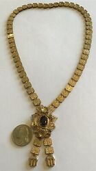 Victorian 1880and039s Gold Filled Garnet Rhinestone Book Chain Pendant Necklace