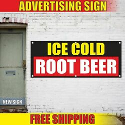 Ice Cold Root Beer Advertising Banner Vinyl Mesh Decal Sign Drinks Soda Bar Fair