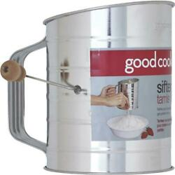 36 Pk Bradshaw Goodcook 3-cup Tin Sifter With Crank Model 24302