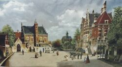 City Hall Place In The Old Town Tapestry Wall Hanging Vintage European Cityscape
