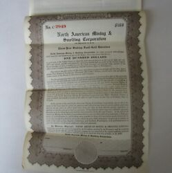 Old 1928 - North American Mining And Smelting - Bond Certificate - Nevada