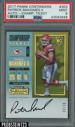 2017 Contenders Championship Ticket Patrick Mahomes RC AUTO 10 PSA 9 POP 1