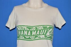 vintage 60s HANA MAUI HAWAII WHITE GREEN 2 SIDED COTTON WOMEN'S t-shirt SMALL S