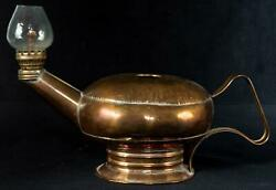 Antique Brass Aladdin Genie Oil Lamp With Pebbled Glass Shade
