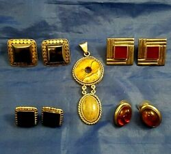 Vintage Lot Sterling Silver/ Silver Earrings 4 Pair 1 Pendant Mixed Stones