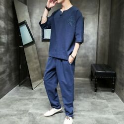 Mens Loose 2-piece Suits Ancient Chinese Cotton Linen Summer T-shirts Pants Tops
