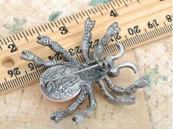 Antique Inspired Crystal Rhinestone Spider Insect Brooch Pin