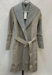 Eileen Fisher Oatmeal Dark Pearl Double Face Wool Blend Shawl Collar Coat Small